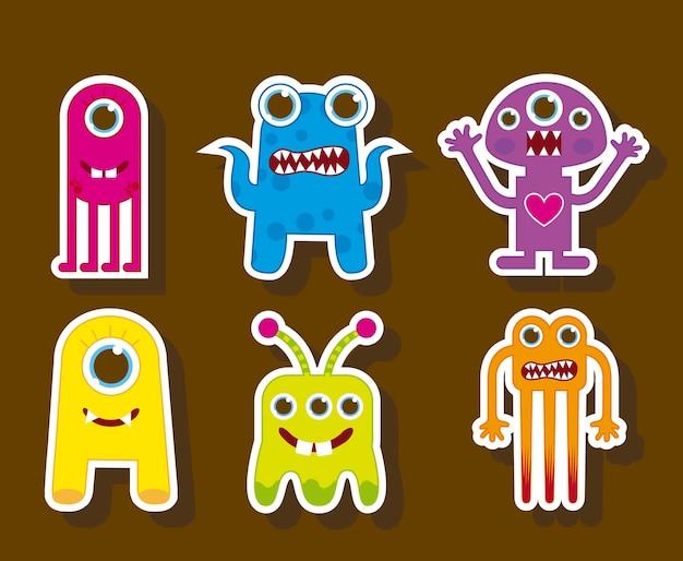 Monstres mignons colorés sur fond marron