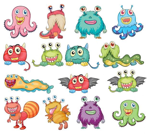 Monstres mignons et colorés