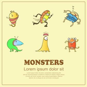 Monstres mignons de dessin classique doodle