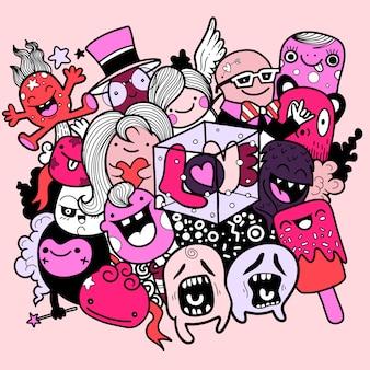 Monstres mignons dessinés à la main avec les lettres love, illustrations.