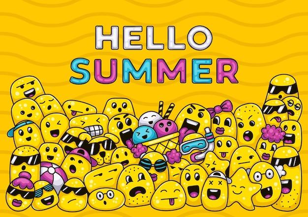 Monstres mignons disant bonjour illustration de griffonnage d'été