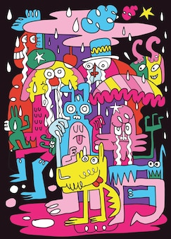 Des monstres mignons jouent sous la pluie pour le plaisir. illustration, griffonnages dessinés à la main mignons,