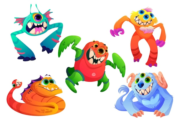 Monstres mignons petits animaux extraterrestres avec des cornes de dents beaucoup d'yeux et un ensemble de dessins animés de vecteur de fourrure de cr...