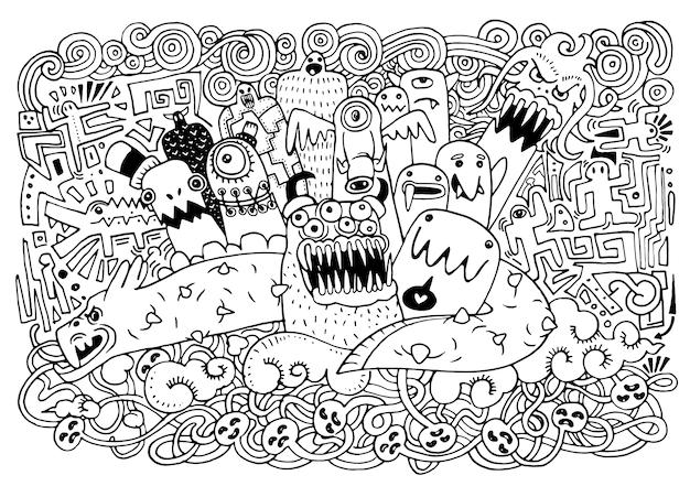 Monstres et sympathique alien mignon