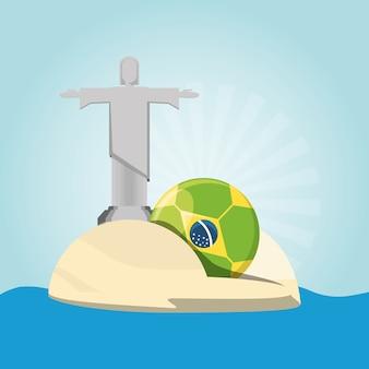 Mont du pain de sucre avec la statue du christ rédempteur