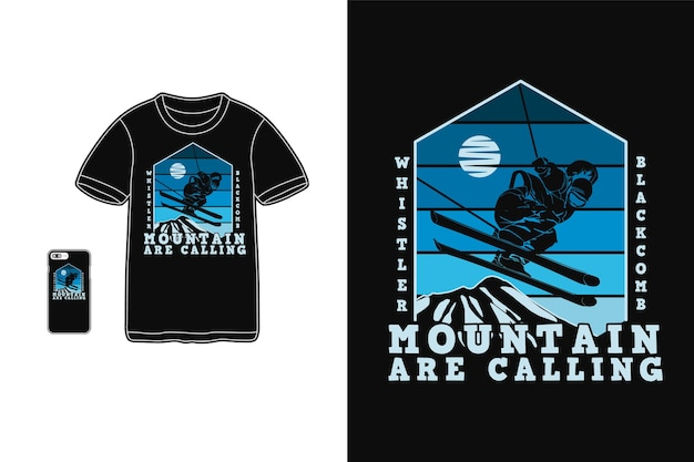 La montagne appelle la conception pour le style rétro de silhouette de t-shirt