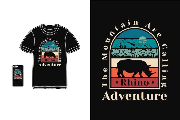La montagne appelle t-shirt design silhouette style rétro