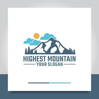 Montagne de conception de logo avec ciel et soleil