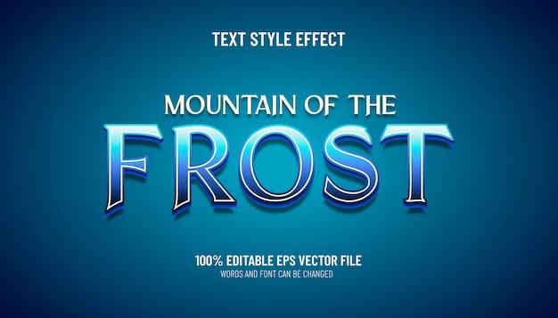 Montagne d'effet de texte modifiable du style de jeu frost