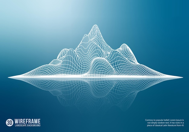 Montagne filaire abstraite avec réflexion