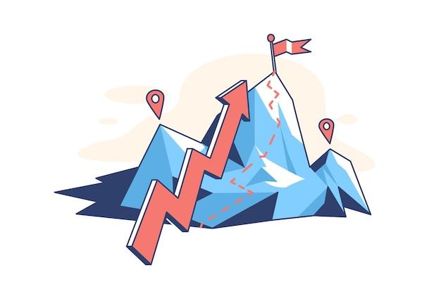 Montagne avec illustration de style plat de pointeur de flèche