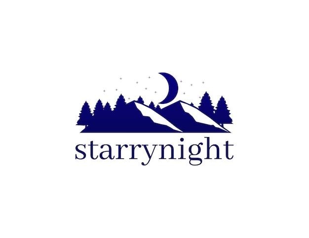 Montagne de nuit étoilée et pin avec concept de logo de lune