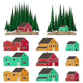 Montagne et des paysages forestiers avec des maisons de style canadien brillant vector illustration