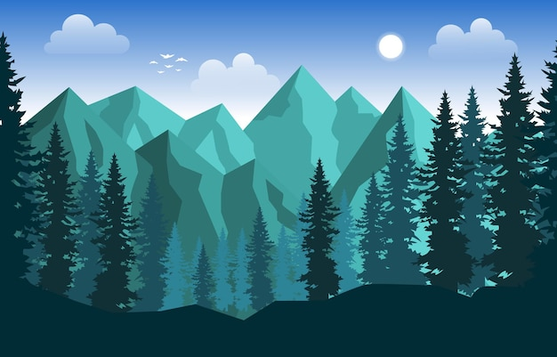 Montagne pic pin sapins nature paysage aventure illustration