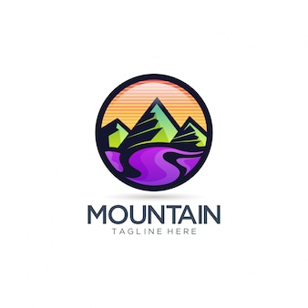 Montagne et rivière logo vector