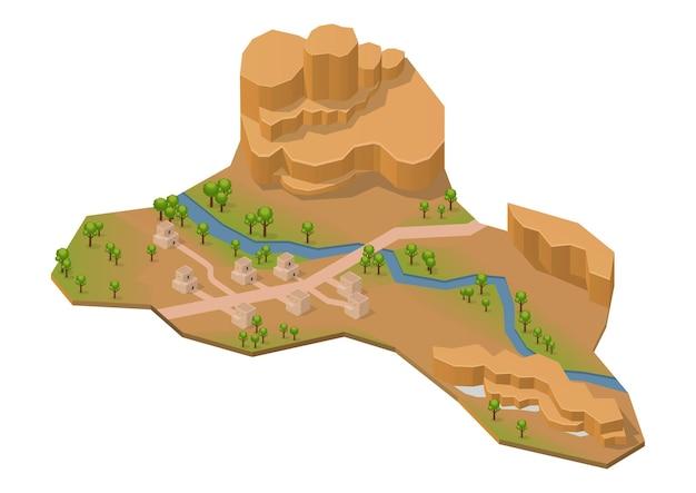 Montagne rocheuse isométrique avec lac, rivière et maison. isolé sur blanc