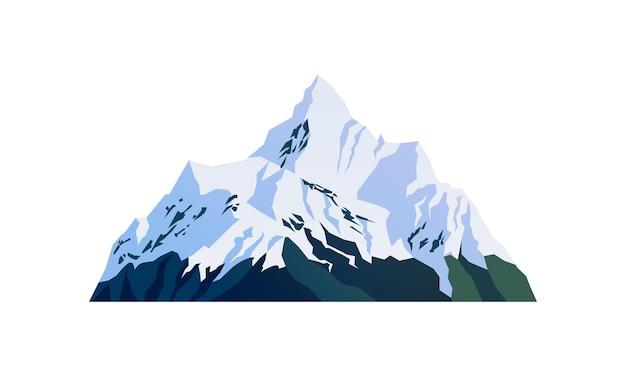 Montagne sommets enneigés falaises rocheuses enneigées isolé dessin animé icône vecteur paysage voyage