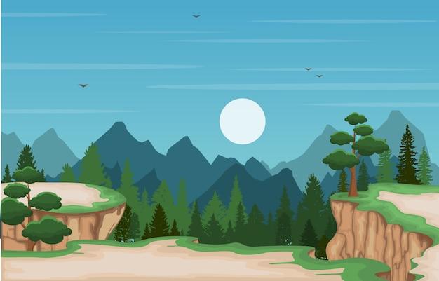 Montagne, vallée, falaise, arbre, nature, paysage, illustration vectorielle