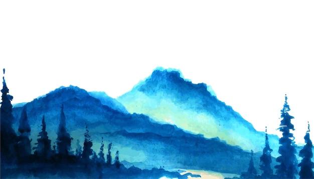 Montagnes avec arbres forestiers