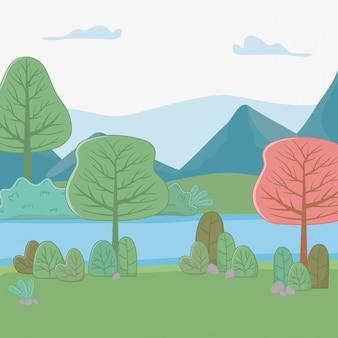 Montagnes et arbres