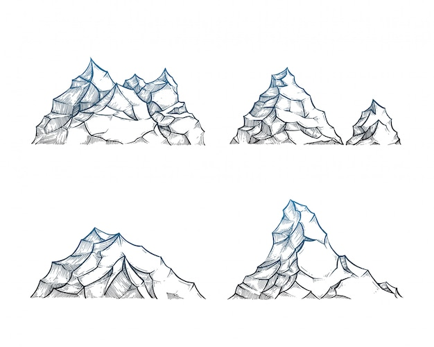 Montagnes sur blanc