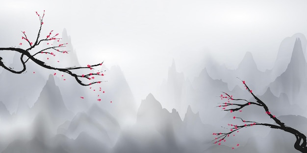 Montagnes blanches et brume blanche et arbres suspendus décorés de fleurs, aux couleurs des cerisiers en fleurs.