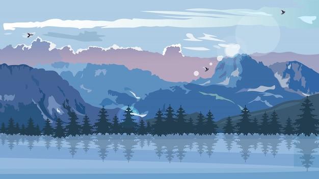 Montagnes bleues en saison d'hiver