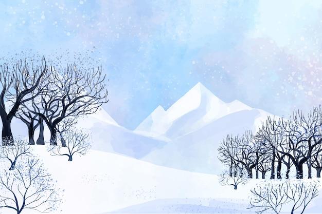 Montagnes et branches d'arbres paysage d'hiver