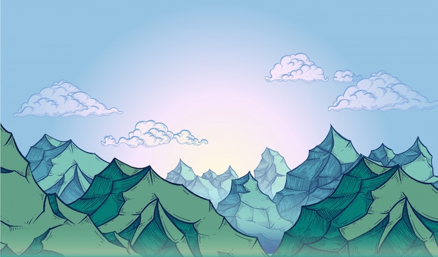 Montagnes sur ciel bleu