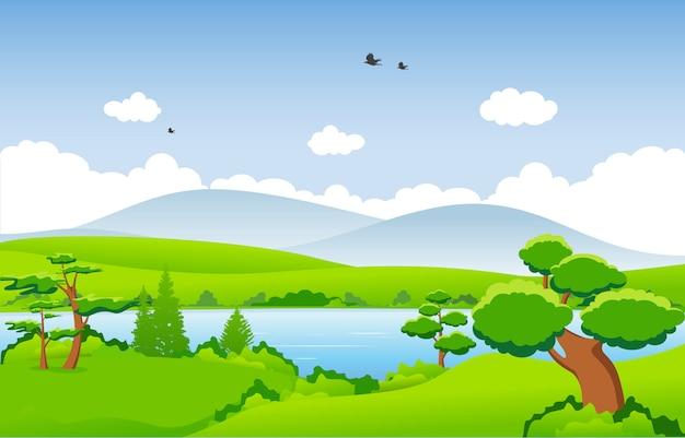 Montagnes collines herbe verte arbre nature paysage ciel