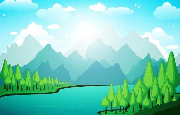 Montagnes collines lac vert nature paysage ciel