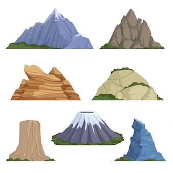 Montagnes de dessin animé. neige rocheuses été terrain en plein air rocher paysage