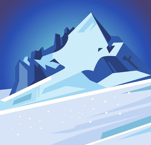 Montagnes enneigées d'hiver, illustration de dessin animé plat