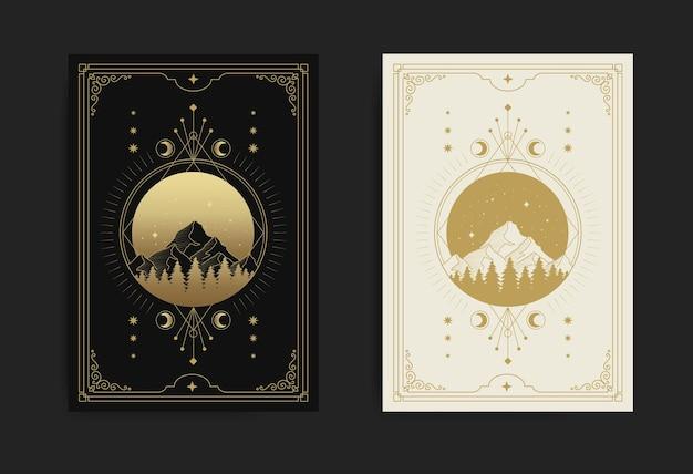 Montagnes, forêts, pleine lune, étoiles et décorées de géométrie sacrée