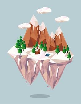 Montagnes et maison lowpoly