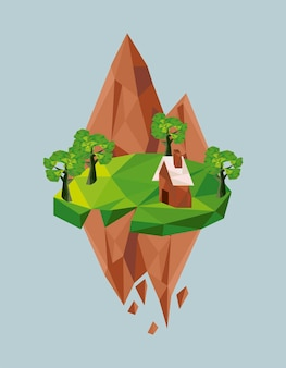 Montagnes et maison