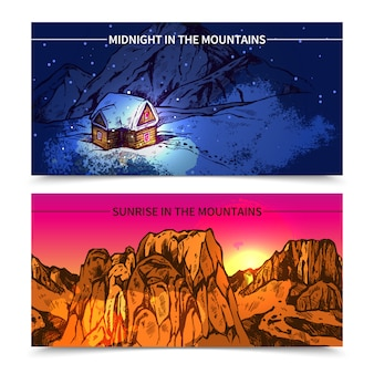 Montagnes minuit et sunrise bannières