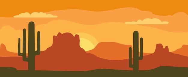 Montagnes panoramiques et ciel coucher de soleil avec cactus. télévision illustration vectorielle