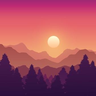 Montagnes et paysage forestier avec arbres au coucher du soleil