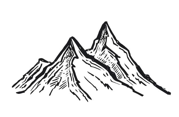 Montagnes de paysage illustration dessinée à la main