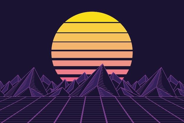 Montagnes et paysage retrofuturistes