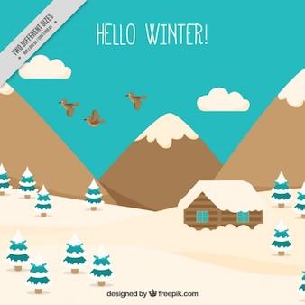 Montagneux neigeux fond de paysage avec cabine