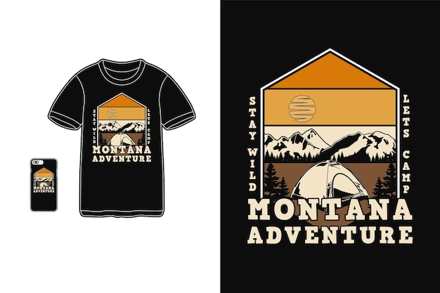 Montana aventure t-shirt design silhouette style rétro