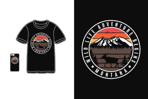 Montana aventure de la vie sauvage commence la conception pour le style rétro de silhouette de t-shirt