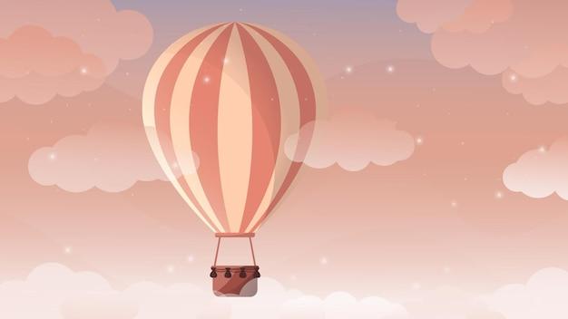 Montgolfière dans le désertballon ballon au coucher du soleil désert été vacances d'étérelaxation