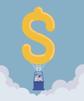 Montgolfière en forme de dollar avec des gens d'affaires