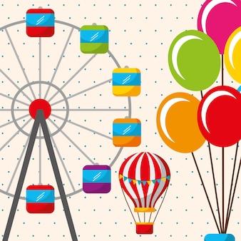 Montgolfière grande roue carnaval fête foraine