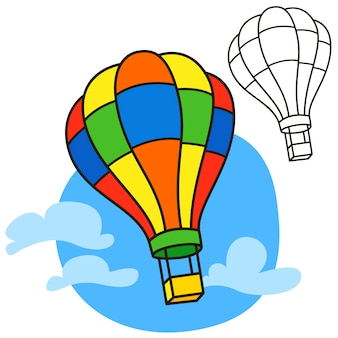 Montgolfière. page de livre de coloriage. illustration de bande dessinée
