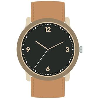 Montre-bracelet mécanique de conception classique isolée sur fond blanc. cadran avec aiguilles des heures, des minutes et des secondes. illustration vectorielle.