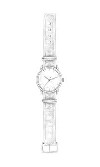 Montre dessinée à la main avec bande en illustration vectorielle de couleur blanche et noire